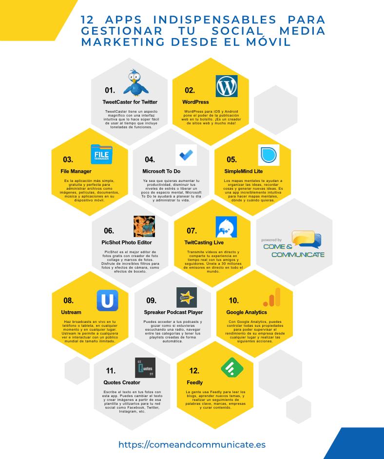 Infografía: 12 apps indispensables para gestionar tu Social Media Marketing desde el móvil