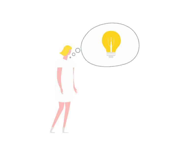 Trabajadora de Come Communicate teniendo una gran idea